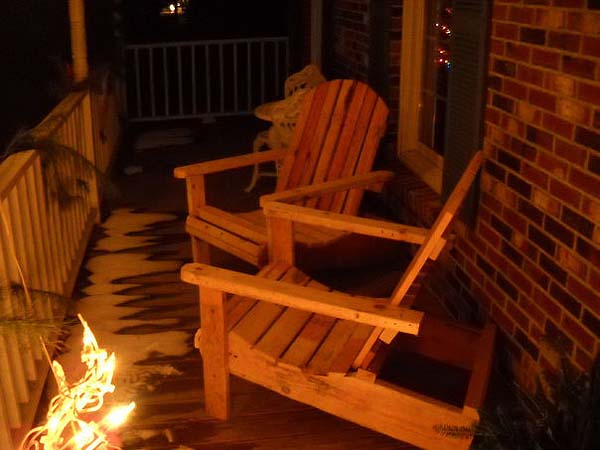 pallet chairs on porch