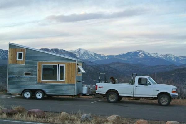 boulder tiny house behind truck