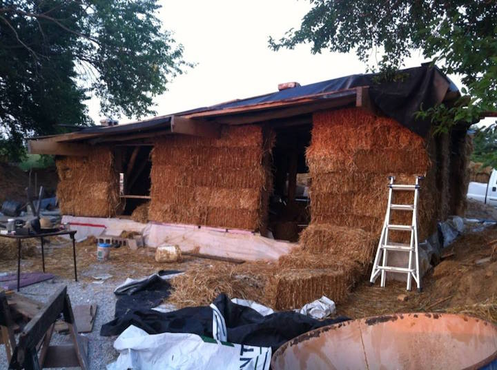 Strawbales Going Up