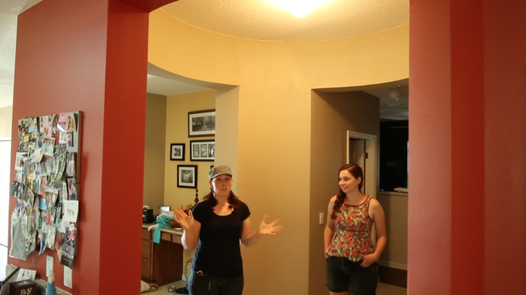 Rene taking me on a tour of her big house, showing off the inefficient & underutilized spaces like this rotunda