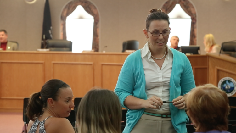 Rene celebrating with other Rockledge tiny house advocates at the last City Council reading of the new ordinance